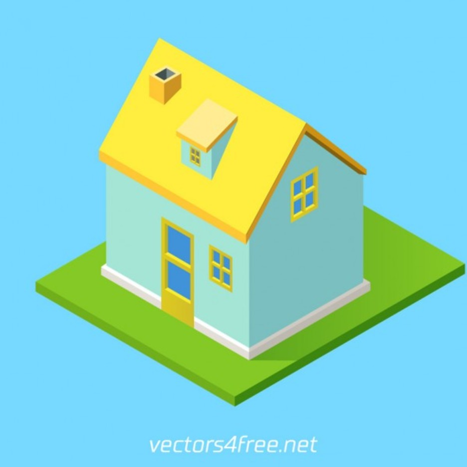 Isometric village house vector