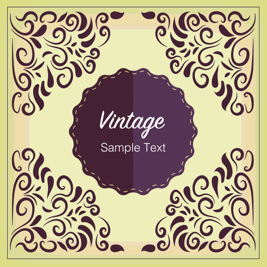 vintage floral badge design