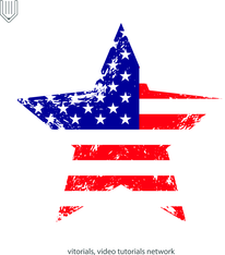 US flag with grunge texture in star shape