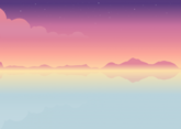 Free illustration of sunset seascape