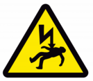 Electric shock hazard warning sign