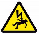 Electric shock hazard warning sign