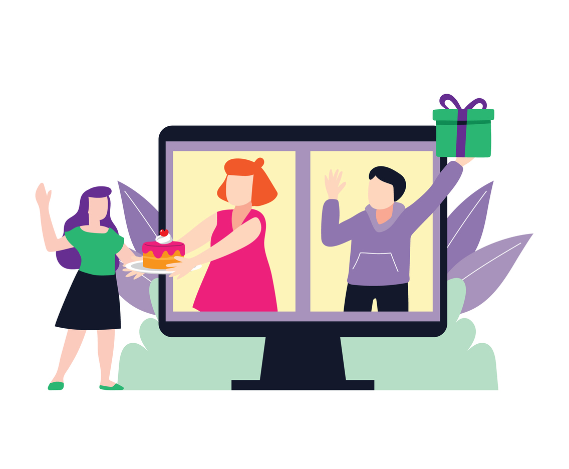 Woman Getting an Online Gift from Friends