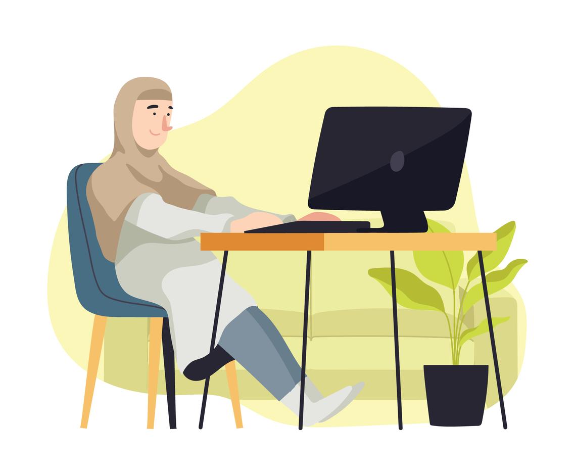 Muslim Girl Working Online