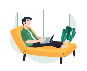 Man Working From the Sofa