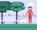 Woman Walking the Dog Wearing a Facemask