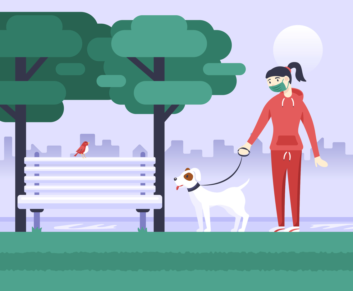 Woman Walking the Dog Wearing a Facemask