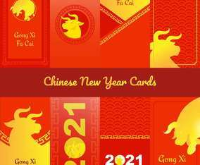 Eight Sticker Cards of Golden Ox Chinese New Year 2021