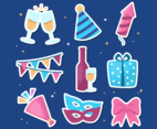 New Year Party Stickers Collection