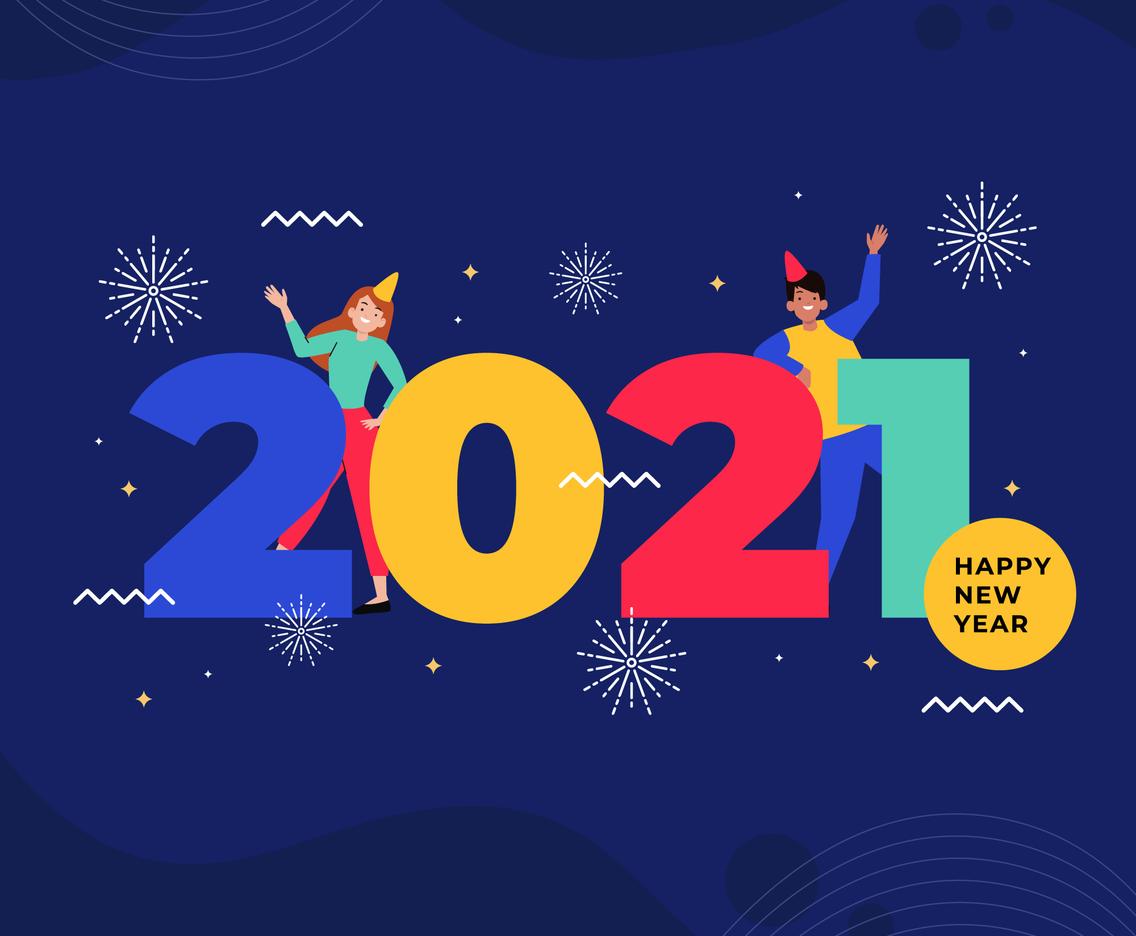 Happy New Year Flat Design Illustration Background