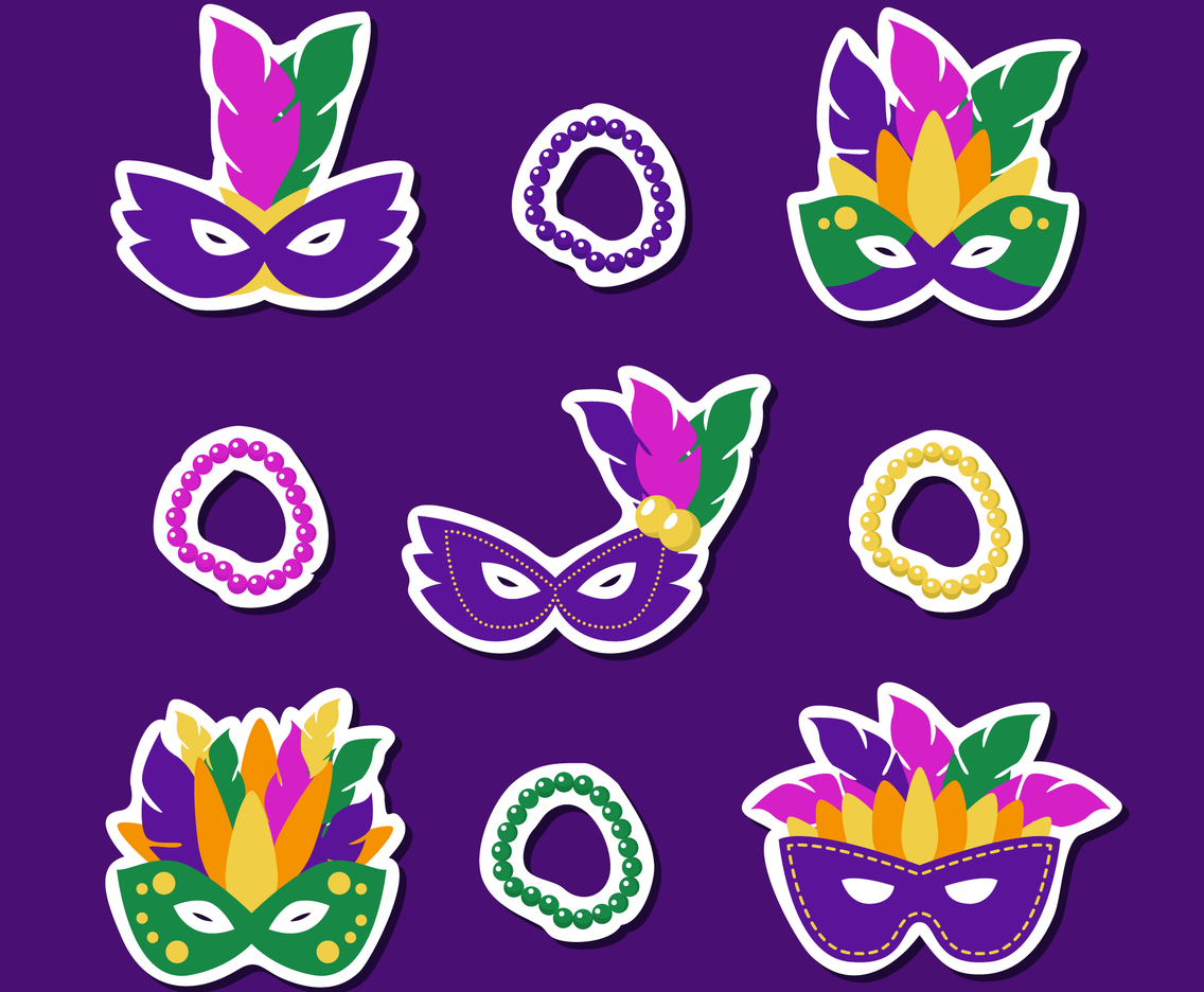 Mardi Gras Masks and Beads Sticker Collection