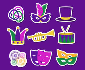 Mardi Gras Carnival Stickers Set