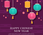 Happy Chinese New Year Lantern Flat Design Background