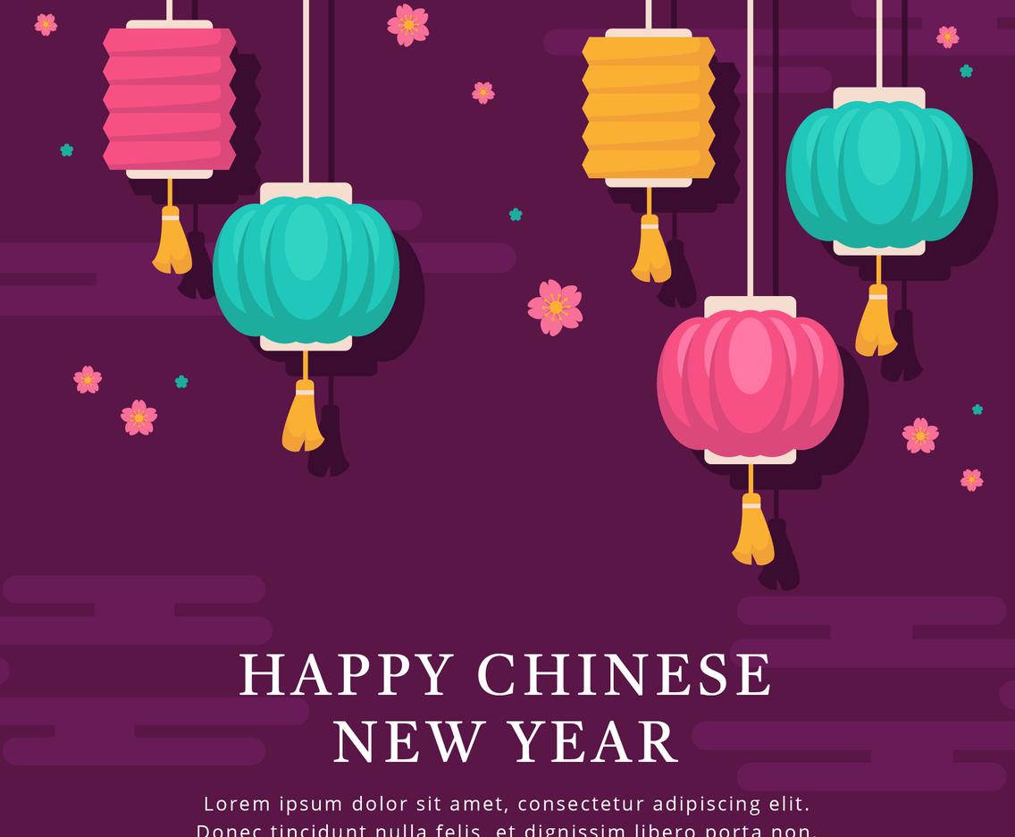 Happy Chinese New Year Lantern Flat Design Background