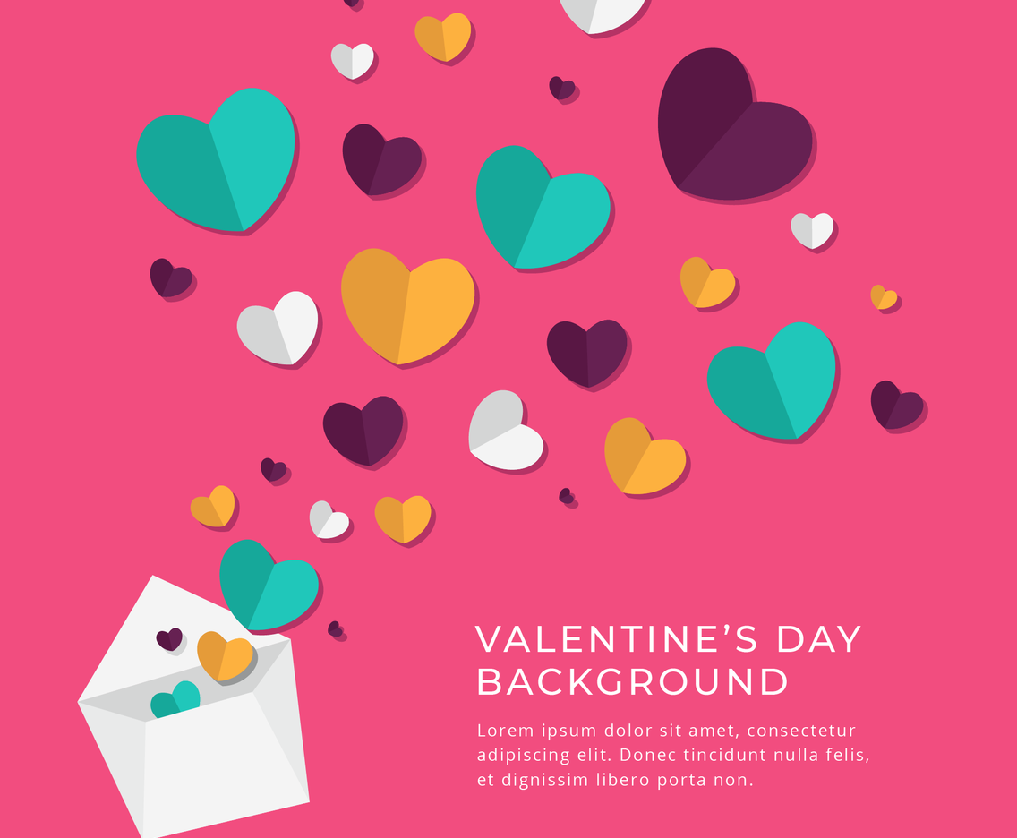 Valentine's Day Flat Heart Background Design Template