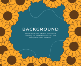 Flat Sunflower Frame Design Background