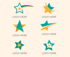 Abstract Green and Orange Star Logo Set