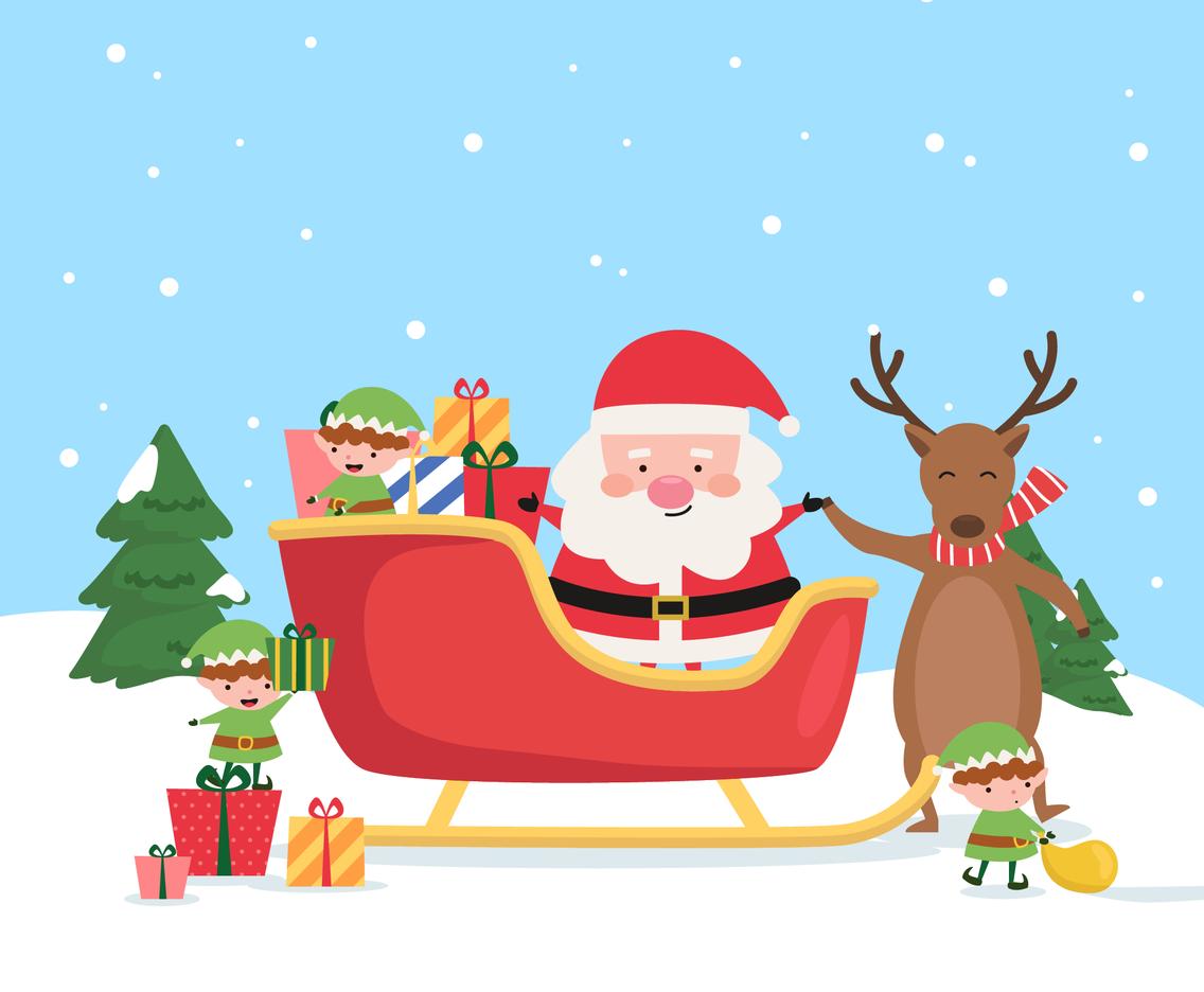 Cute Santa and Elves with Deer