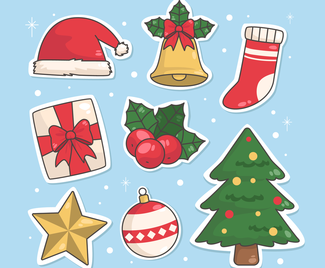 Christmas Decoration and Items Sticker Set