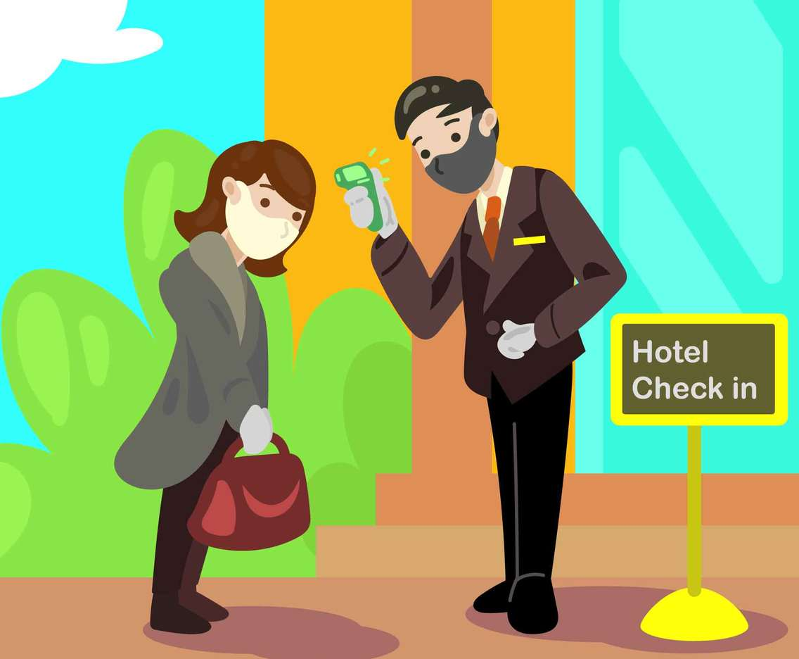 Checking Temperature before Check in to Hotel