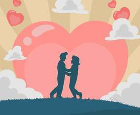 Couple Silhouette Celebration with Heart Background