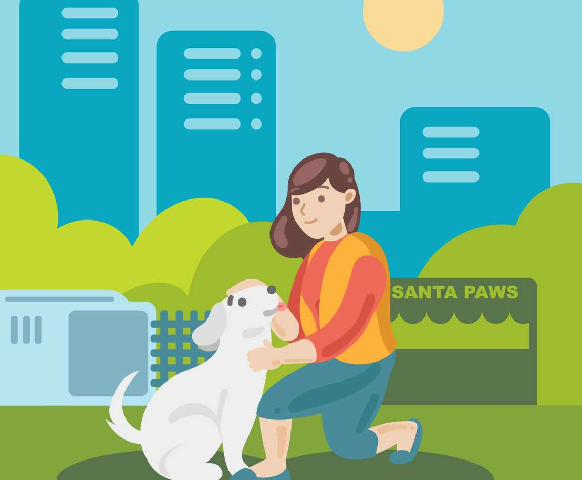 Female Volunteer with Homeless Dog in City Park