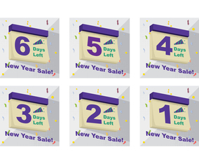 New Year Sale Countdown Days on Calendar Design