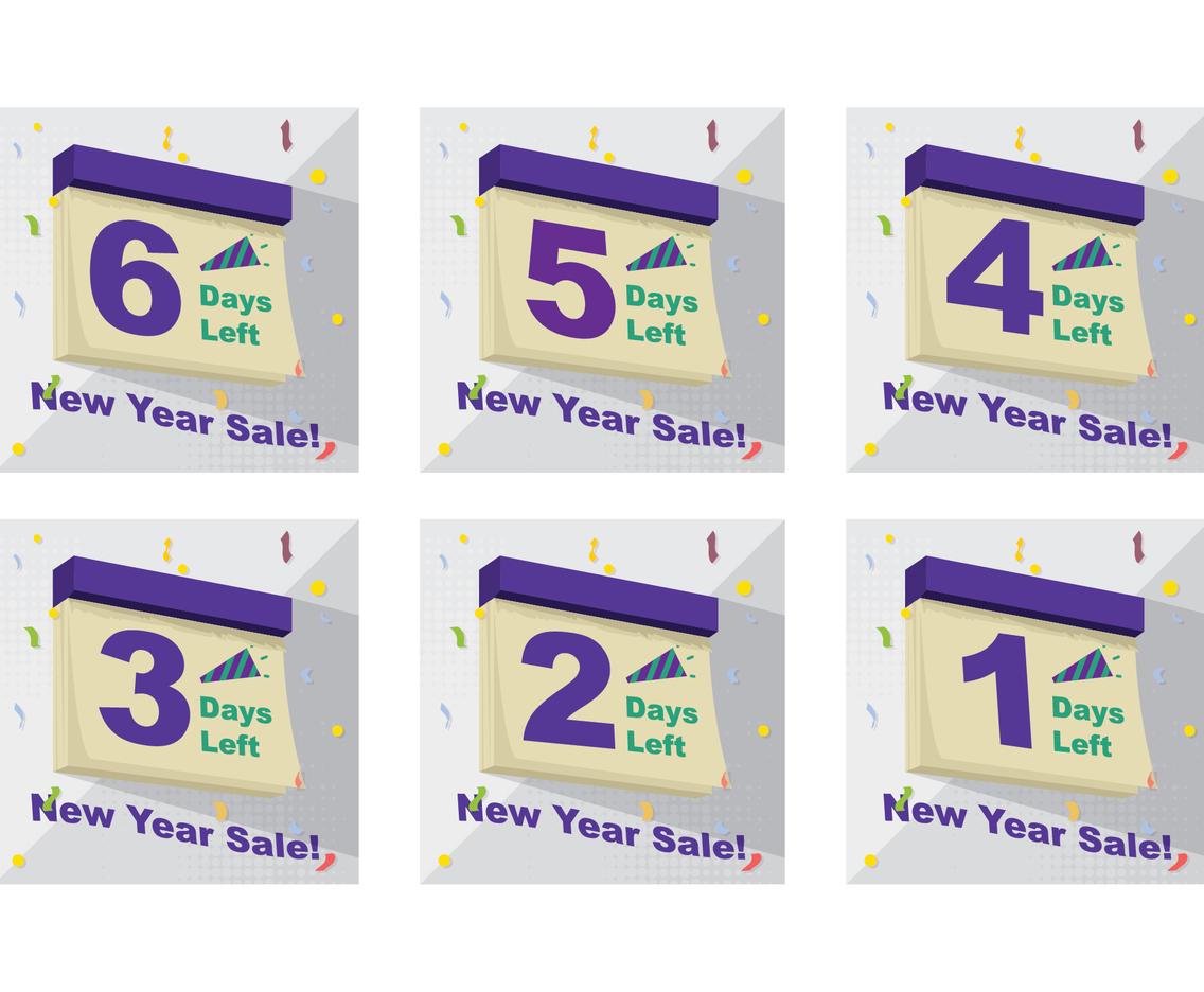 New Year Sale Countdown Days on Calendar Design