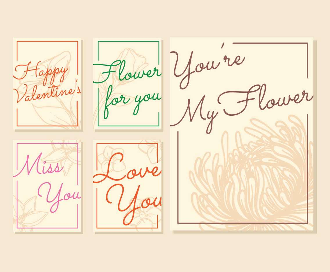 Valentine Card With Flower Silhouette Background