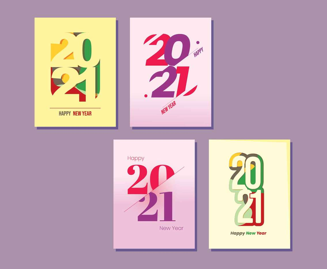 New Year Card with Number 2021
