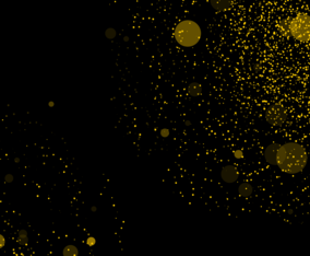 Gold Particles Explosion on Black Background