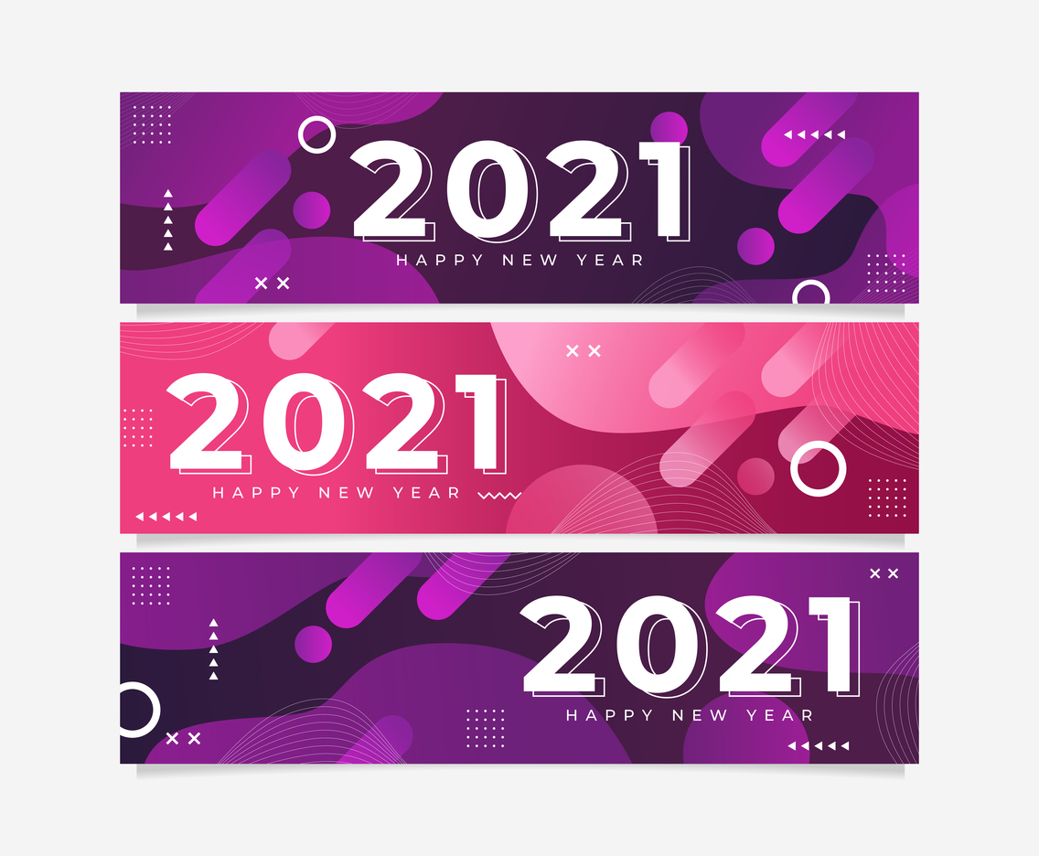 New Year 2021  Banners Set Design Concept