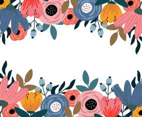 Colorful Hand Drawn Spring Flower Background Design