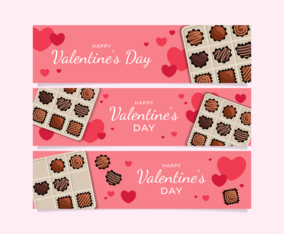 Valentine's Day Chocolate Horizontal Banners Set
