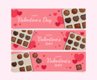 Valentine's Day Chocolate Horizontal Banners Set