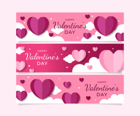 Valentine's Day Hearts Banners Set Design