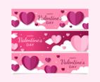Valentine's Day Hearts Banners Set Design