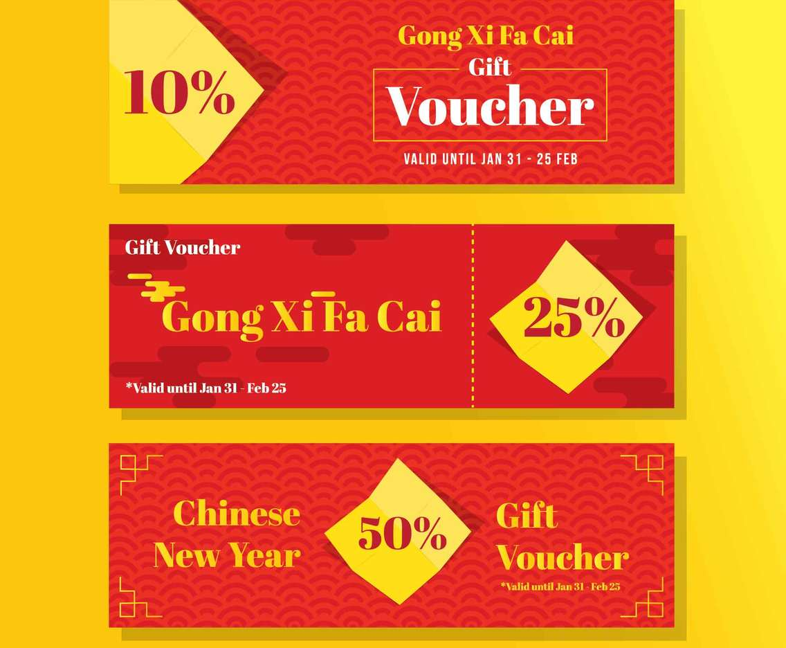 Gong Xi Fa Cai Voucher Discount in Red Color