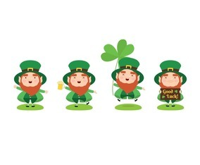 Collection of Cute Green Leprechaun with Different Gesture