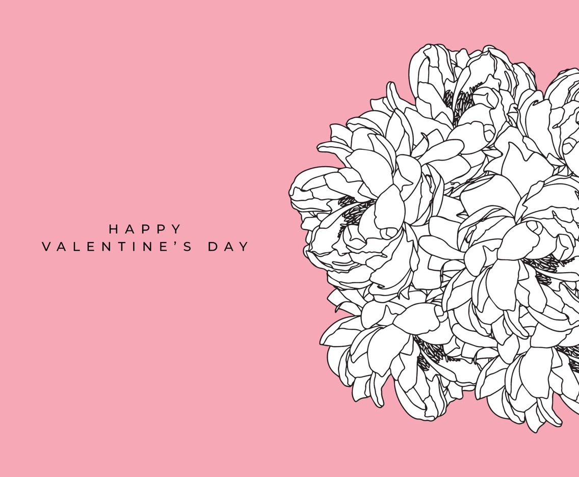 Flower Hand-Drawn on Pink Background for Valentine's Day Celebration