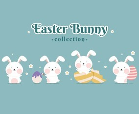 Cute Easter Bunny Collection with Different Gesture