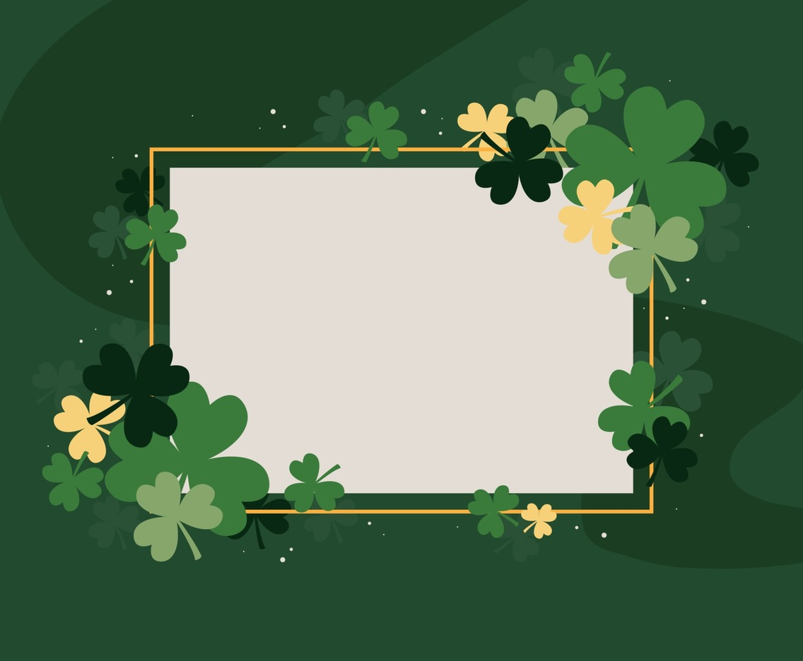 Background Template with Clovers as Frame for St. Patrick's Day Celebration