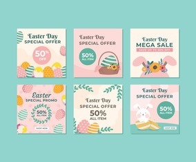 Collection of Easter Sale Template for Social Media