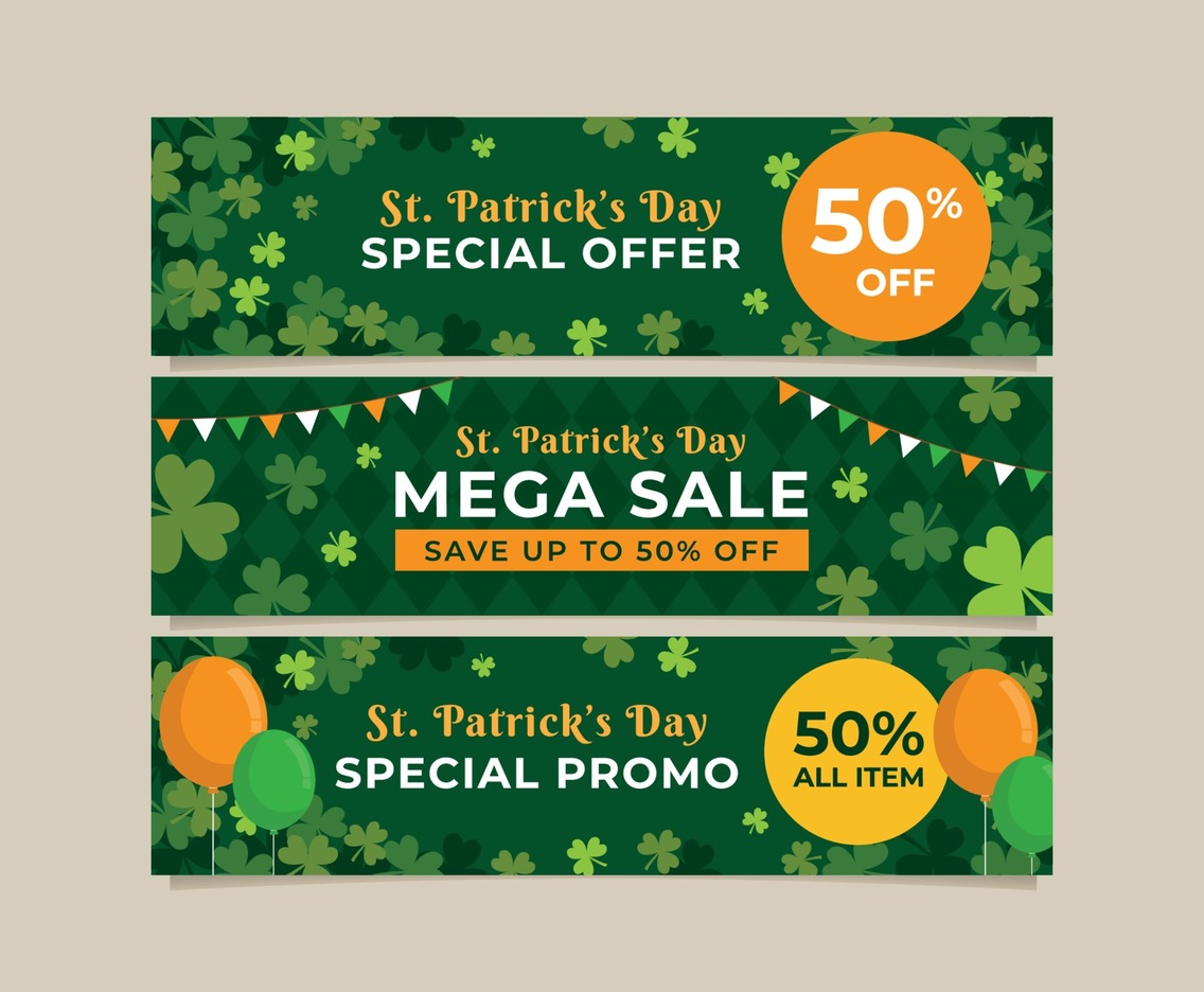 Collection of Promotional Banner for St. Patrick's Day Celebration with Clover as The Background