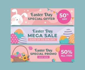 Collection of Promotional Banner for Easter Celebration