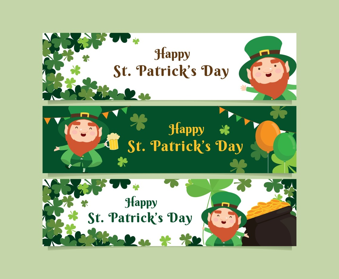 Banner Template with Cute Leprechaun and Clover for Celebrating St. Patrick's Day