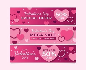 Valentine's Day Sale Banners Set in Pink Color Scheme