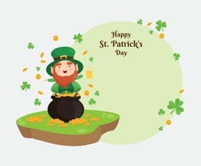 St. Patrick's Background Template with Cute Leprechaun