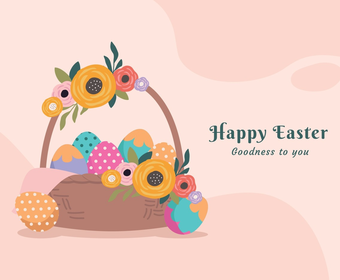 Basket with Easter Eggs Design Concept to Celebrate Easter