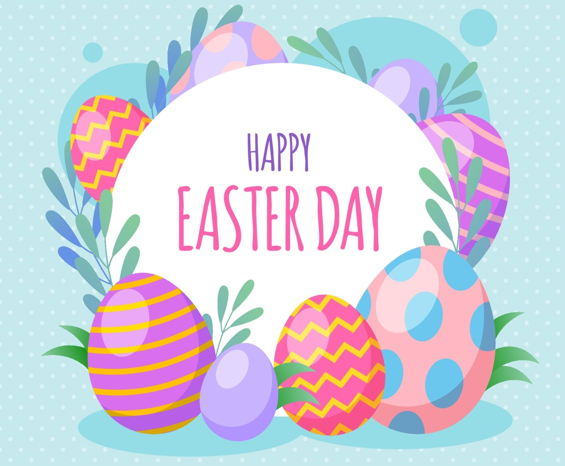 Happy Easter Day with Colorful Eggs